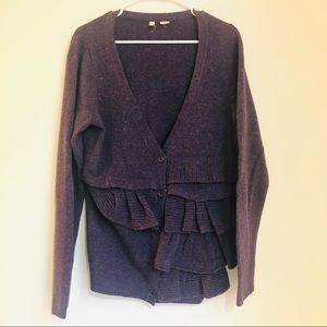 Anthropologie MOTH purple ruffle sweater cardigan